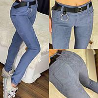 Жіночі замшеві лосини імітація під джинси (42, 44, 46, 48, пояс +70грн., вісім кольорів), фото 1