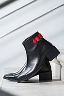 Ботинки женские кожаные черные на маленьком каблуке
