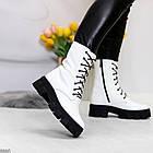 Демисезонные женские белые ботинки, натуральная кожа, фото 4