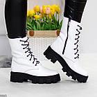 Демисезонные женские белые ботинки, натуральная кожа, фото 5