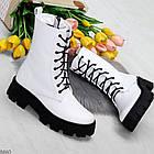 Демисезонные женские белые ботинки, натуральная кожа, фото 10