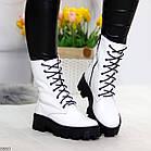 Демисезонные женские белые ботинки, натуральная кожа, фото 3