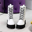Демисезонные женские белые ботинки, натуральная кожа, фото 6