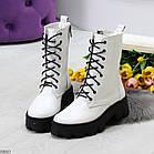 Демисезонные женские белые ботинки, натуральная кожа, фото 7