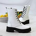 Демисезонные женские белые ботинки, натуральная кожа, фото 8