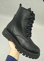 Ботинки женские черные из натуральной кожи