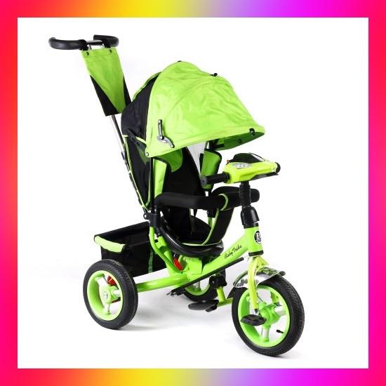 Дитячий триколісний велосипед коляска Baby Trike 6588 з ігровою панеллю і ключем запалювання помаранчевий