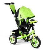 Дитячий триколісний велосипед коляска Baby Trike 6588 з ігровою панеллю і ключем запалювання помаранчевий, фото 2