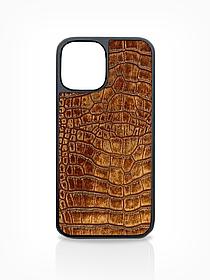 Чехол для iPhone 12 светло-коричневого цвета из Телячьей кожи тиcнёной под Крокодила