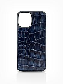 Чехол для iPhone 12 синего цвета из Телячьей кожи тиcнёной под Крокодила