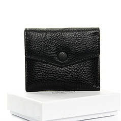 Кошелек кожаный женский маленький черный на кнапке Dr. Bond WS-20