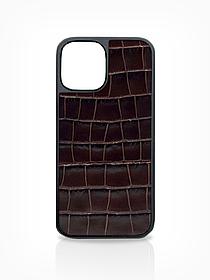 Чехол для iPhone 12 тёмно-коричневого цвета из Телячьей кожи тиcнёной под Крокодила