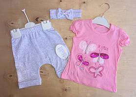 """НЕДОРОГО Летний костюм на новорожденную девочку с повязочкой """"Бабочки"""" 100% хлопок  р. 12, 18 мес. (на годик)"""