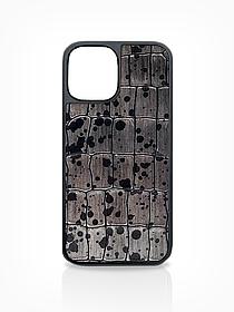 Чехол для iPhone 12 цвета металлик из Телячьей кожи тиcнёной под Крокодила
