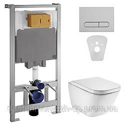 Комплект: GAP Rimless унитаз подвесной с сиденьем с микролифтом  + VOLLE Master инсталляция 4в1, хромированная