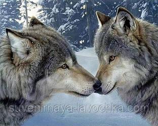 """Набор для вышивания крестиком """" Пара волков"""" 40х30 см"""