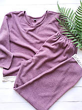 Мягкий ангоровий костюм-пижама для дома в розовом цвете, кофта и штаны