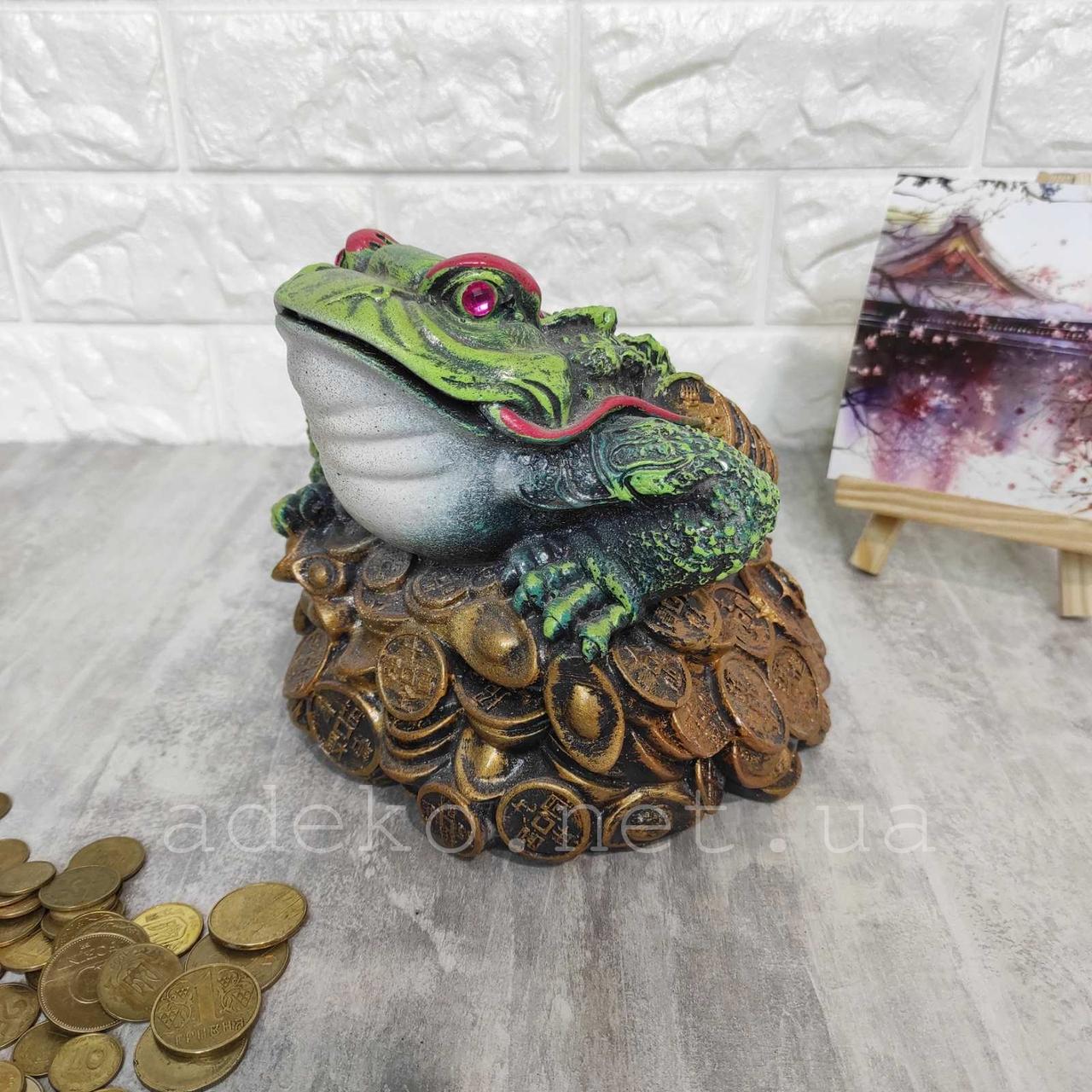 Копилка Трёхлапая жаба зеленого цвета 15 см
