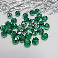 Ронделі на нитках, 6мм, колір Emerald AB, скло, нитка ~90шт