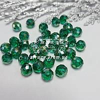 Ронделі на нитках, 8мм, колір Emerald AB, скло, нитка ~68шт