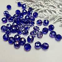 Ронделі на нитках, 6мм, колір Sapphire AB, скло, нитка ~90шт