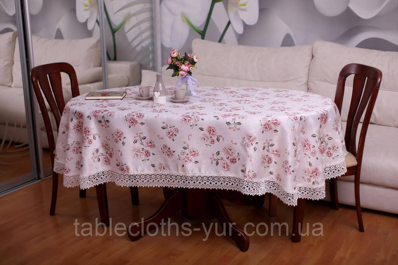 Скатерть Праздничная с Кружевом 130-175 «Beautiful» Овальная №10