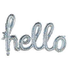 Фольгированные буквы серебряные hello, 113 Х 46 см в упаковке  1900