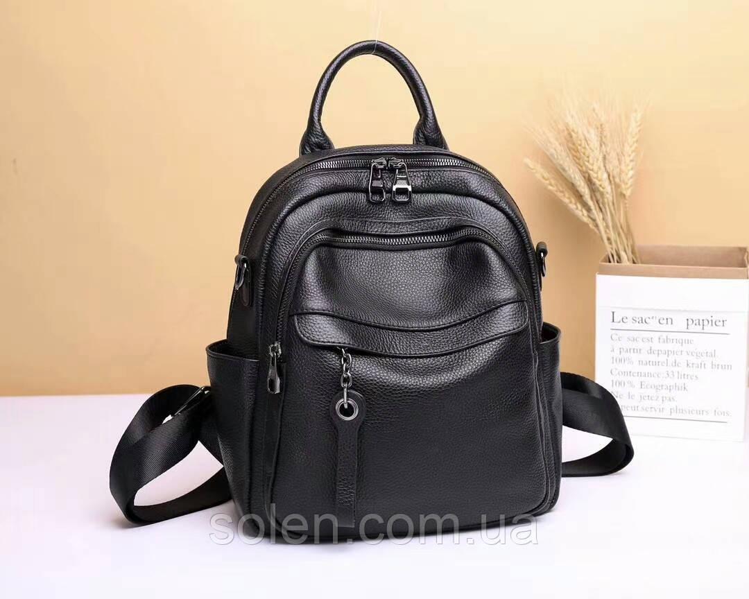 Стильний молодіжний рюкзак з натуральної шкіри. Шкіряний рюкзак чорний з пряжкою.