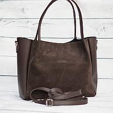 Женская замшевая сумка Guess (Гесс), коричневая ( код: IBG162K1 )