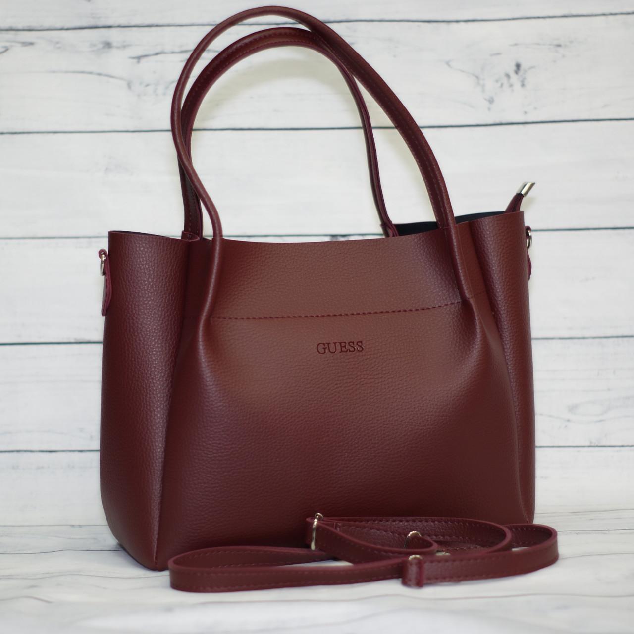Женская сумка Guess (Гесс), бордовая ( код: IBG162KR )