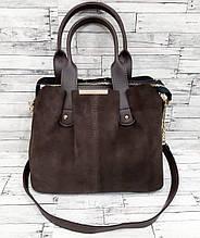 Жіноча замшева сумка, коричневий колір ( код: IBG178K1 )