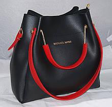Черная женская сумка-шоппер Mісhаеl Коrs (в стиле Майкл Корс) с отстёгивающимся кошельком и красными ручками