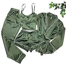 Женский атласный комплект 4-ка (халат, штаны, топ, шорты)