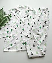 Домашний костюм-пижама с кактусамы, рубашка и штаны в мягкой фланели