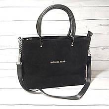 Женская замшевая сумка Mісhаеl Коrs, в стиле Майкл Корс MK, черная ( код: IBG193B1 )