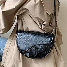 Женская стильная сумка кобура, седло с тиснением рептилия, черная ( код: IBG235B )