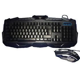 Комплект дротова клавіатура ігрова LED і миша HLV V100 Black 6945