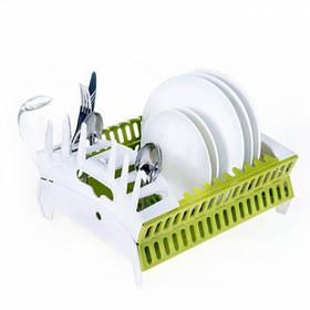 Настольная сушилка органайзер для посуды HLV Collapsible compact dish rack Green/White
