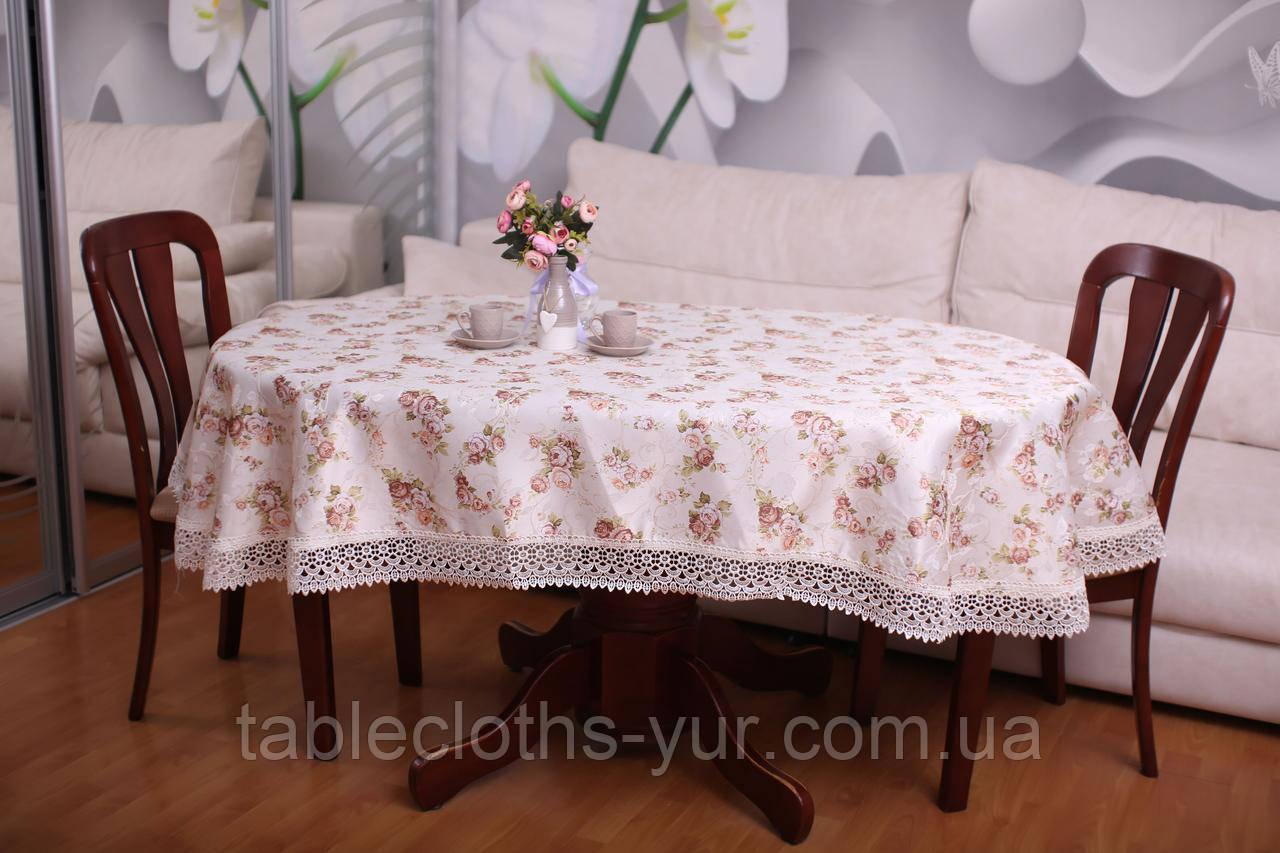 Скатерть Праздничная с Кружевом 130-175 «Beautiful» Овальная №11