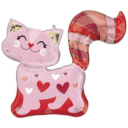 Фол куля фігура Кішечка рожева в сердечках (Анаграм), фото 2