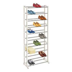 Стійка підставка органайзер для зберігання взуття Shoe Rack 10 полиць на 30 пар взуття Біла