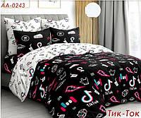 Комплект двухспального постельного белья Тик Ток, Бязь Люкс, Тиротекс, черно-белый