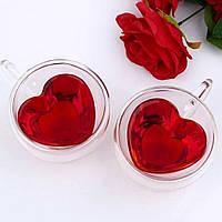 Набор чашек с сердцем внутри 300 мл 2 шт Ardesto (AR2630GHL), чашки с двойными стенками, фото 1