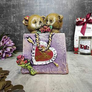 Сувенир-копилка Мишки Тедди с розочками 15 см