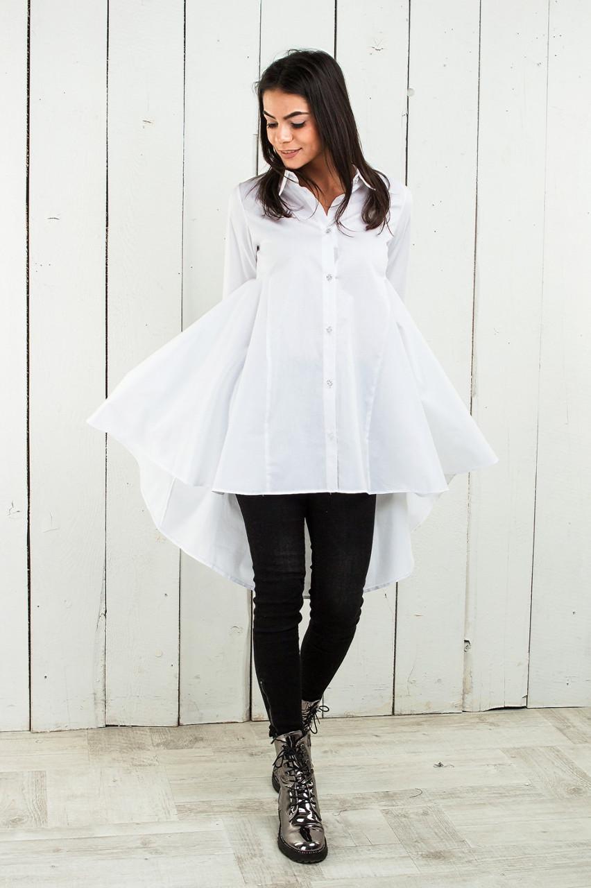 Ошатна жіноча сорочка-блуза подовжена 42-46 (в кольорах)