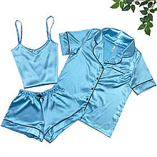 Женский комплект 3-ка (рубашка, майка, шорты), шелк Армани