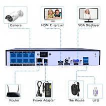 Комплект відеоспостереження 4K POE Hiseeu POEKIT-4HB615 на 8 камер 5MP і реєстратор + дроти і все для монтажу, фото 3