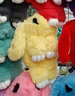 Меховая сумка - рюкзак Кролик. Детская сумка Кролик. Сумочка кролик. Меховая сумочка кролик. желтый