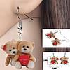 Серьги Влюбленные мишки Детская бижутерия Акриловые сережки для девочки