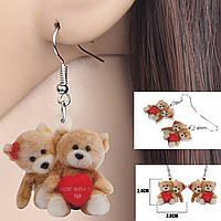 Серьги Влюбленные мишки Детская бижутерия Акриловые сережки для девочки, фото 1
